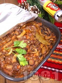 Винен кебап с телешко месо от глава печен в тава на фурна - снимка на рецептата
